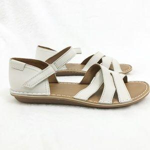 Clarks Tustin Sahara White Leather Sandals